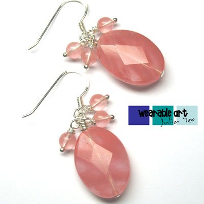 ~Sakura~ Sterling Silver Cherry Quartz Earrings