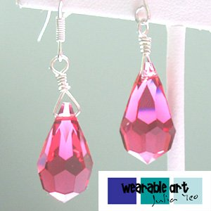 ~The Red Wine~ .925 Silver Swarovski Crystal Earrings