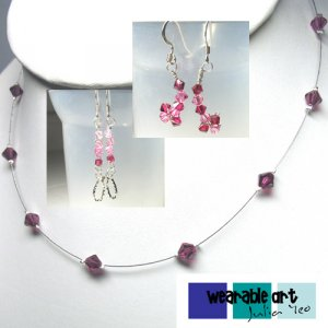 ~Ruby Illusion~ Swarovski Crystal Earrings & Necklace Set