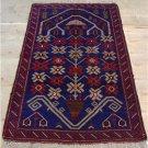 2'7 x 4'6 Pak Balouch Turkoman Sumak Tribal Hand Knotted Oriental Wool Area Rug