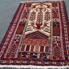 3'2 x 6'2 Fine Genuine Persian Balouch Mousel Tribal Hand Knotted Wool Area Rug