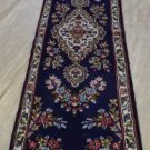 1'6 x 6'4 Stunning Blue Rare Genuine Persian Kerman Hand Knotted Wool Rug Runner