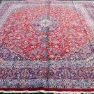 9 x 13 Fine Plush Genuine Semi Antique Persian Mashad Hand Knotted Wool Area Rug