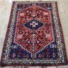 2'8 x 4'3 Genuine Persian Tribal Shiraz Qashqai Bird Handmade Oriental Wool Rug