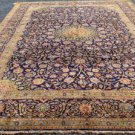 9'6 x 13'1 Rare Blue Finest Genuine Semi Antique Persian Kashan Hand Knotted Rug