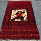 3 x 5 Pictorial Pakistani Balouch Turkoman Tribal Hand Knotted Oriental Wool Rug