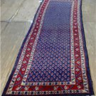 2'10x9'10 Genuine S Antique Persian Mir Sarouk Blue Hand Knotted Wool Rug Runner