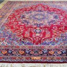 9'7 x 13 Signed Fine Genuine S Antique Persian Sarouk Hand Knotted Wool Area Rug