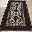 3'6 x 6'3 Nice Quality Genuine Persian Bird Balouch Tribal Hand Knotted Wool Rug