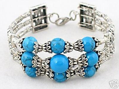 A-Elegant tibetan silver turquoise bracelet