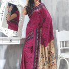 Sari Saree Raw Silk Casual Printed With Unstitch Blouse - VF 5209A N