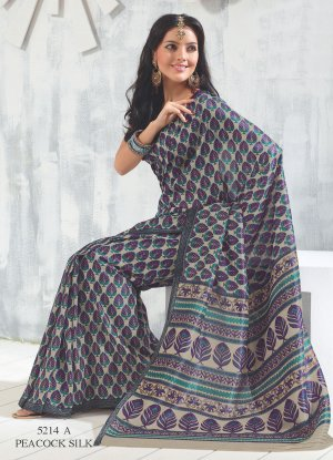 Sari Saree Raw Silk Casual Printed With Unstitch Blouse - VF 5214A N
