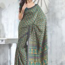 Sari Saree Raw Silk Casual Printed With Unstitch Blouse - VF 5214B N