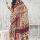 Sari Saree Raw Silk Casual Printed With Unstitch Blouse - VF 5212B N