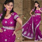 Wedding Faux Georgette Traditional Embroidered Saree Sari With Blouse - X 706 N