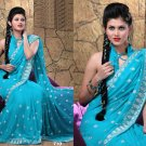 Wedding Faux Georgette Traditional Embroidered Saree Sari With Blouse - X 710 N