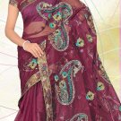 Partywear Net Embroidered Saree With Blouse - LS 102b N