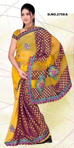 Partywear Faux Georgette Embroidered Saree With Blouse - LS 2758a N