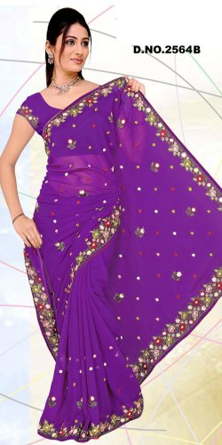 Partywear Faux Georgette Embroidered Saree With Blouse - LS 1053b N