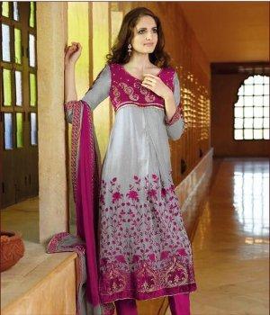 Jaquard Partywear Embroidered Shalwar & Salwar Kameez With Dupatta - X 7196A N