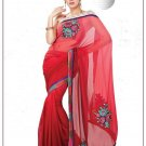 Faux Georgette Partywear Designer Embroidered Saree Sari With Blouse - MF 12 N