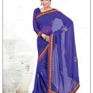 Faux Georgette Partywear Designer Embroidered Saree Sari With Blouse - MF 06 N