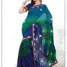 Faux Georgette Partywear Designer Embroidered Saree Sari With Blouse - MF 03 N