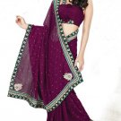 Faux Georgette Partywear Designer Embroidered Saree Sari With Blouse - MF 07 N