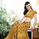 Crepe Casual Partywear Printed Saree Sari With Unstitch Blouse - VF 4810a N