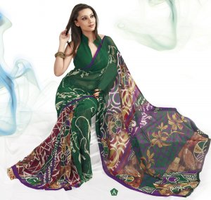 Sari Saree Faux Georgette Casual Printed With Unstitch Blouse - VF 4903a N
