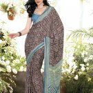Crepe Casual Partywear Printed Saree Sari With Unstitch Blouse - VF 4809b N