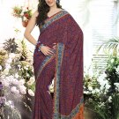 Crepe Casual Partywear Printed Saree Sari With Unstitch Blouse - VF 4802a N