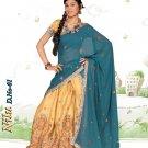 Partywear Raw Silk Exclusive Embroidery Lehenga Sari With Blouse - GW Nilu A N