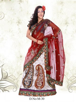 Partywear Net Exclusive Embroidery Lehenga Sari With Blouse - GW M30 N