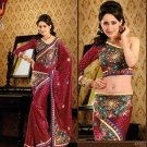 Faux Crepe Casual Designer Embroidered  Sarees Sari With Blouse - X 124A N