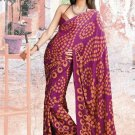 Faux Gerogette Partywear Casual Printed Saris Saree With Blouse - VF 4708A N
