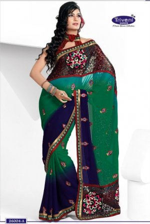 Wedding Georgette Brasso Designer Embroidery Sarees Sari With Blouse-TS 26004A N
