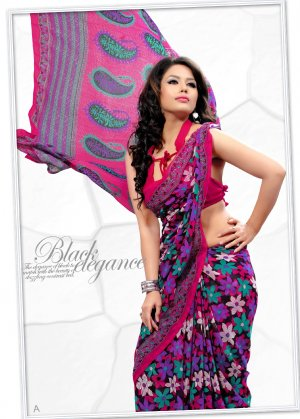 Indian Bollywood Faux Georgette Printed Sari With Unstitch Blouse - X 2193A N
