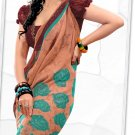 Indian Bollywood Faux Georgette Printed Sari With Unstitch Blouse - X 2176B N