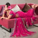 Faux Georgette Partywear Bridal Designer Embroidery Saree With Blouse -X 7367b N