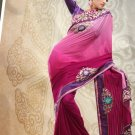 Faux Georgette Partywear Bridal Designer Embroidery Saree With Blouse -X 7350c N