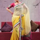 Faux Georgette Partywear Bridal Designer Embroidery Saree With Blouse -X 7349b N