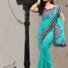 Faux Georgette Partywear Bridal Designer Embroidery Saree With Blouse -X 6374d N