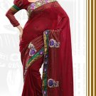 Faux Georgette Partywear Bridal Designer Embroidery Saree With Blouse -X 7358c N