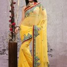 Faux Georgette Partywear Bridal Designer Embroidery Saree With Blouse -X 6374a N