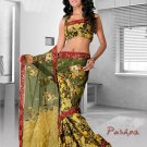 Partywear Faux Georgette Heavy Embroidered Saree With Blouse - Ls Pushpa A N