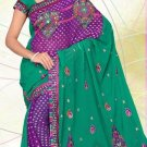 Partywear Georgette Viscose Heavy Embroidered Saree With Blouse - Ls 2811 N