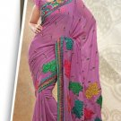 Partywear Faux Georgette Designer Embroiderey Sarees Sari With Blouse- X 1006C N