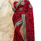 Partywear Faux Georgette Designer Embroiderey Sarees Sari With Blouse- X 1001D N