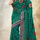 Partywear Faux Georgette Designer Embroiderey Sarees Sari With Blouse- X 1001C N